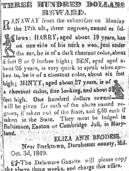 Reward for Harriet Tubman (using birth name)