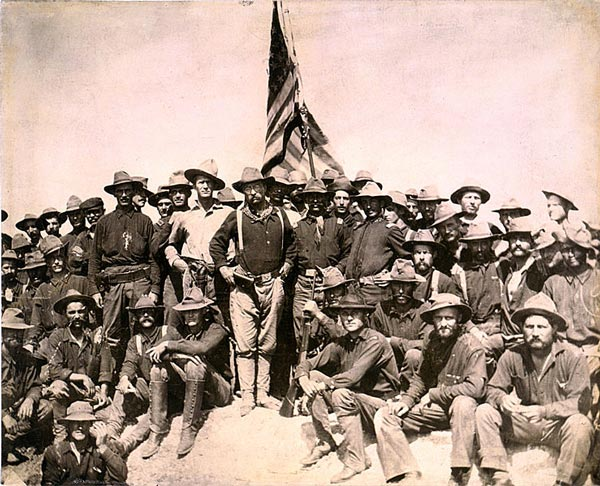 Theodore Roosevelt with his rough riders in San Juan