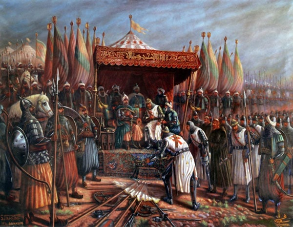 Saladin and Guy of Lusignan after Battle of Hattin